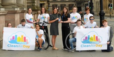 Hyndland Secondary School kids launch Glasgow`s big Clean Air Day event in Glasgow.